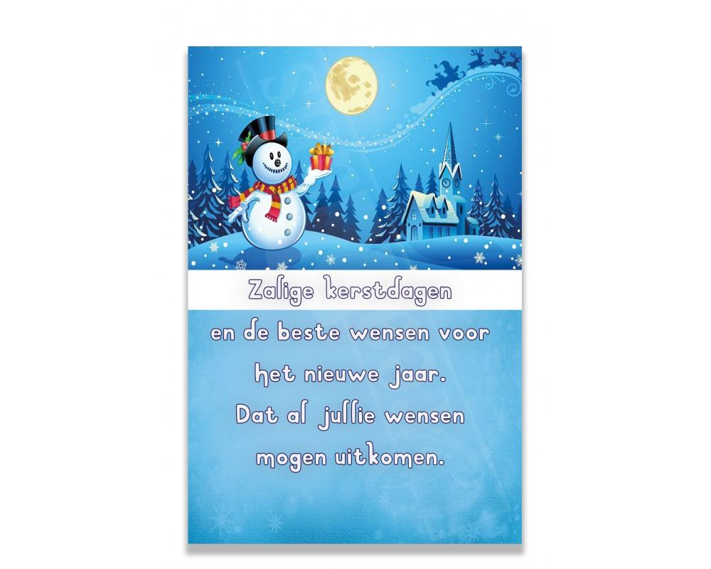 Blauw met sneeuwman